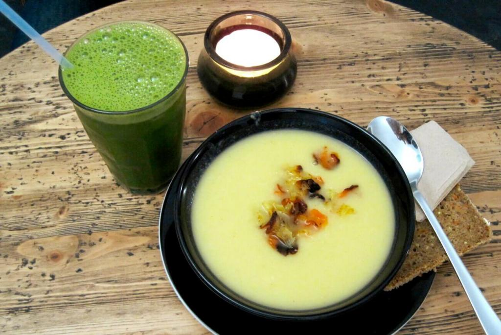 Lunch soup (parsnips) and a green smoothie