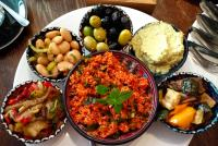 Vegan Brunch including bulgur, olives and hummus