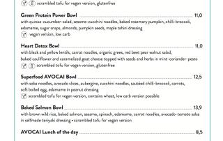Avocai Berlin Lunch menu