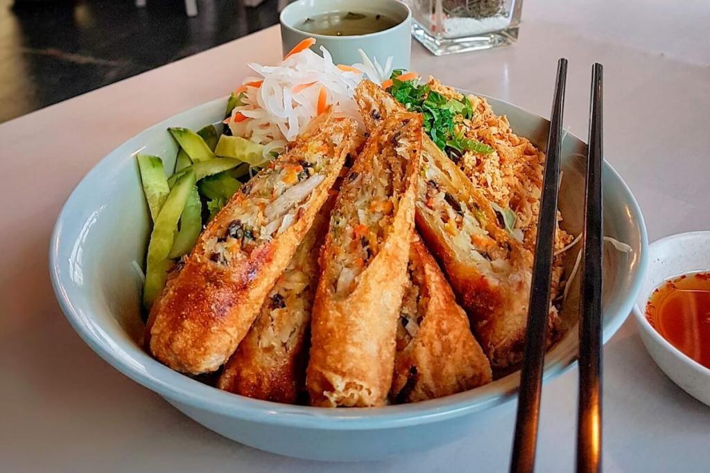 Appetizers - vegan fried avocados and vegetarian asparagus salad